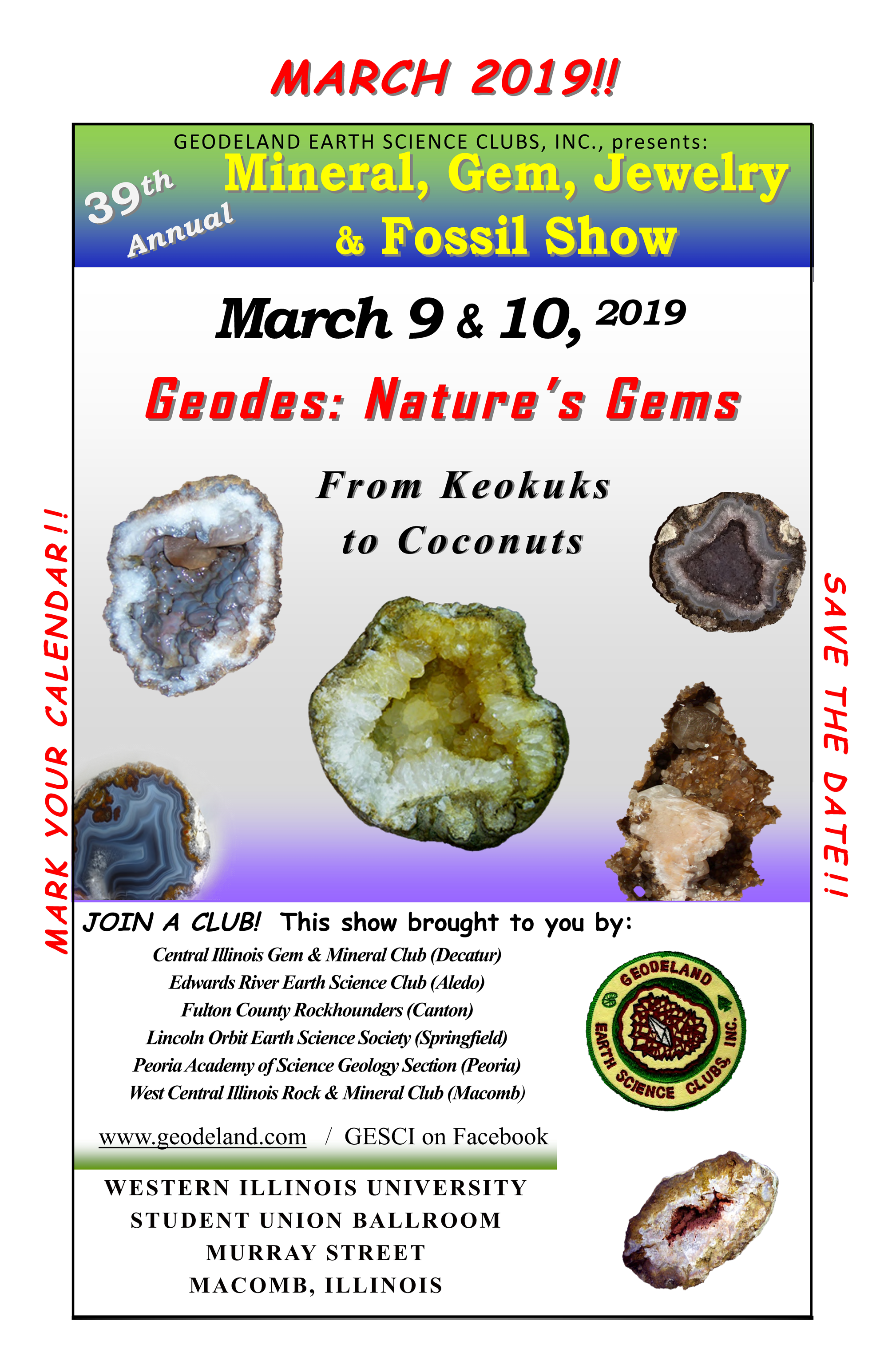Geodeland Earth Science Clubs, Inc. Show for 2019 on wiu quad cities campus, wiu moline campus, wiu campus map, wiu campus recreation,